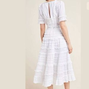 ANTHROPOLOGIE Eugenie Ruffled Lace Midi Dress L